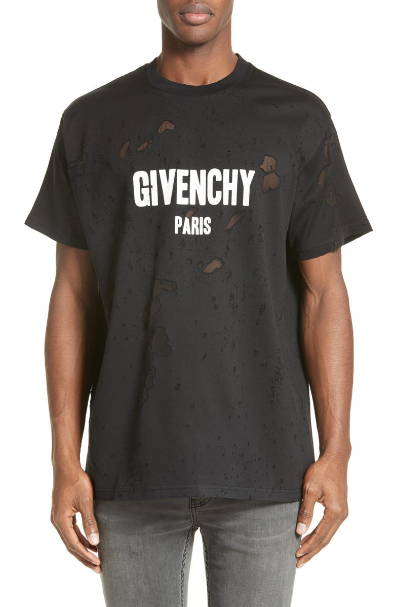 GIVENCHY Destroyed Logo T-Shirt, Main, color, 001