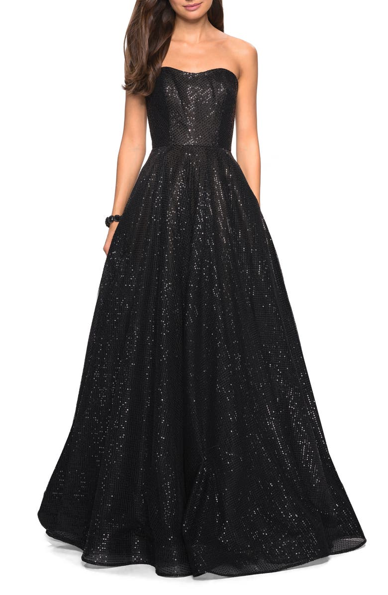LA FEMME Strapless Sequin Ballgown, Main, color, Black