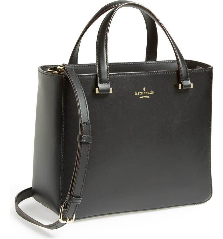 KATE SPADE NEW YORK 'park avenue sweetheart' leather crossbody tote, Main, color, Black