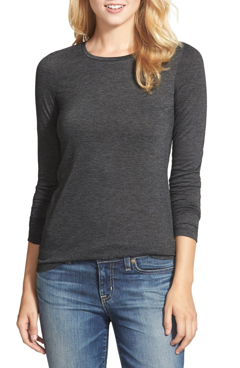 HALOGEN<SUP>®</SUP> Long Sleeve Modal Blend Tee, Main, color, HEATHER CHARCOAL