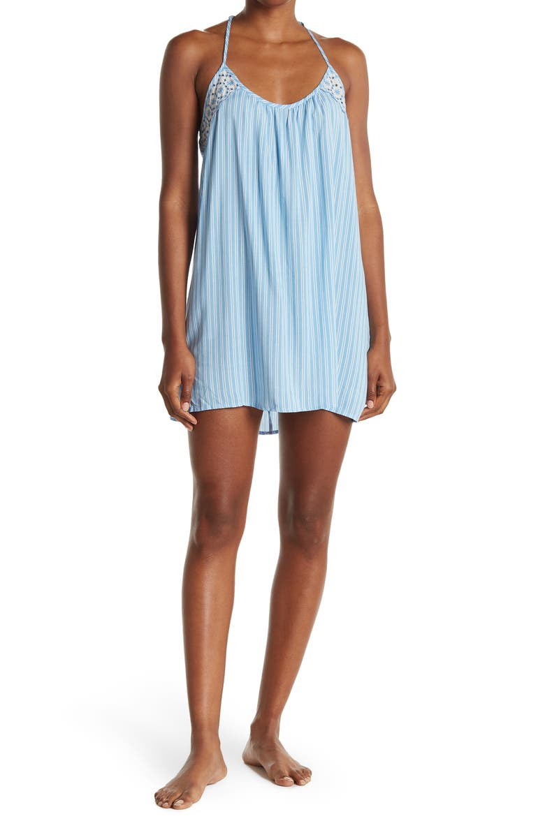 IN BLOOM BY JONQUIL Abby Striped Swing Chemise, Main, color, CHAM BLUE