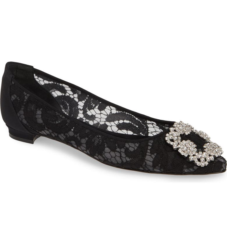 MANOLO BLAHNIK 'Hangisilala' Jeweled Pointy Toe Lace Flat, Main, color, 002