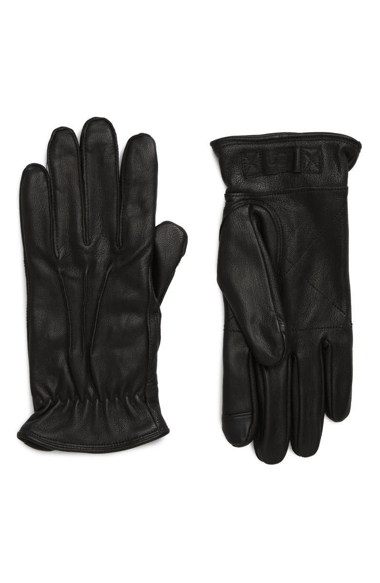 UGG<SUP>®</SUP> Three-Point Leather Tech Gloves, Main, color, BLACK