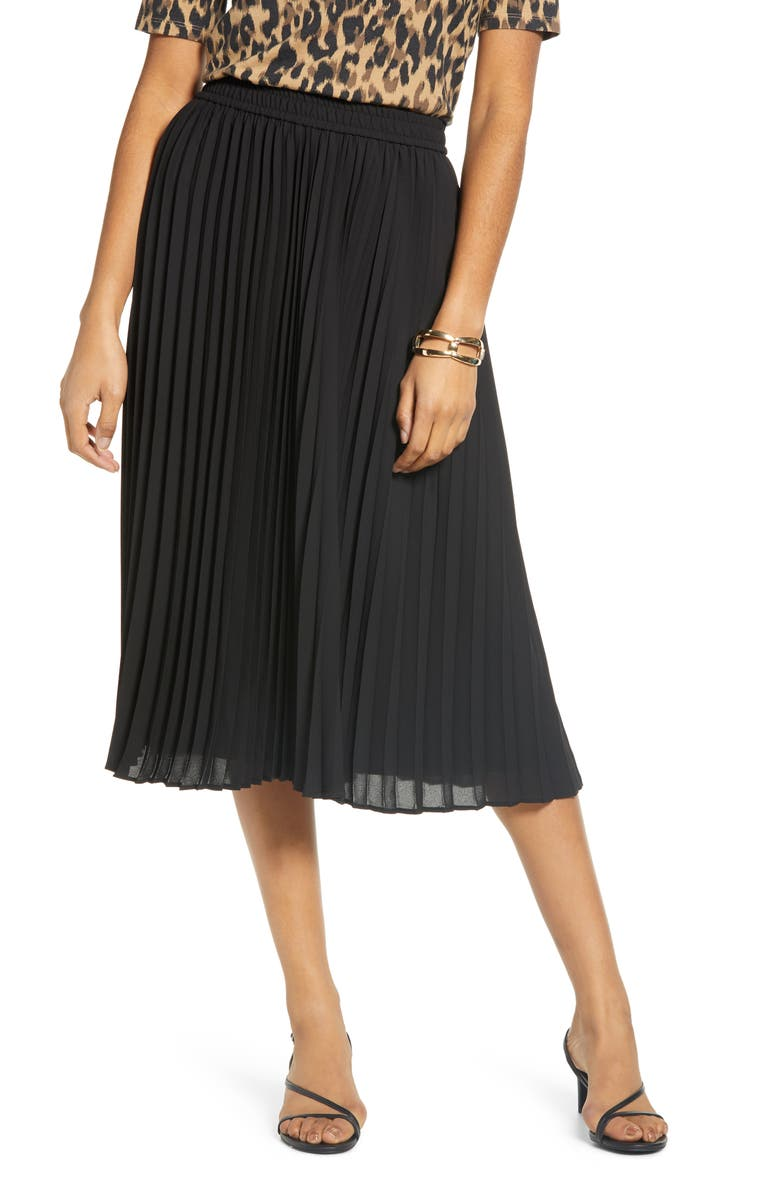 HALOGEN<SUP>®</SUP> Pleated Chiffon Skirt, Main, color, 001