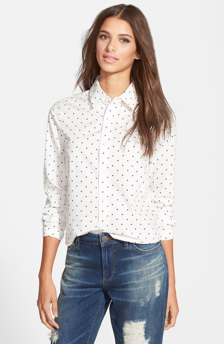 RE:NAMED Button Front Blouse, Main, color, White