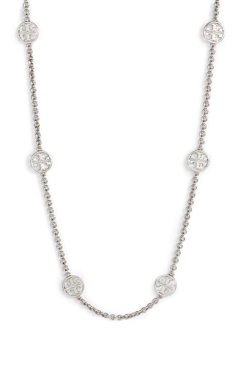 TORY BURCH Logo Station Necklace, Main, color, 040