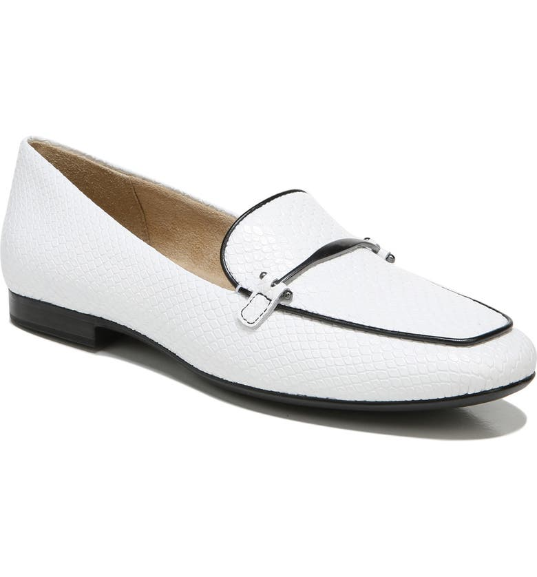 NATURALIZER Emiline Loafer, Main, color, WHITE BLACK LEATHER