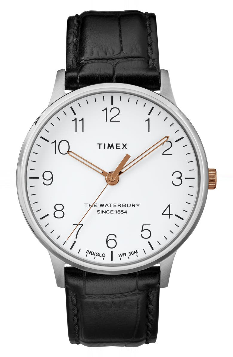 TIMEX<SUP>®</SUP> Waterbury Leather Strap Watch, 40mm, Main, color, 001