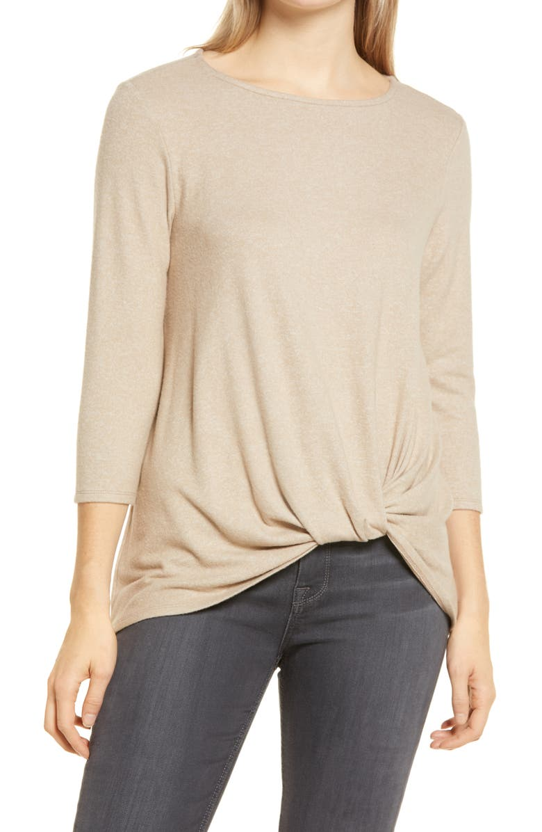 GIBSONLOOK Gibson Cozy Twist Front Pullover, Main, color, TOASTED ALMOND