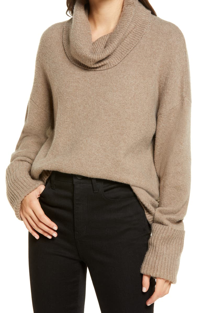 CHELSEA28 Cowl Neck Sweater, Main, color, BROWN SHITAKE HEATHER