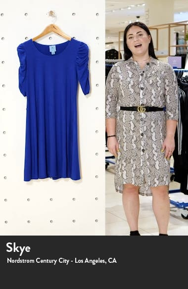 Ruched Sleeve Ponte Knit A-Line Dress, sales video thumbnail