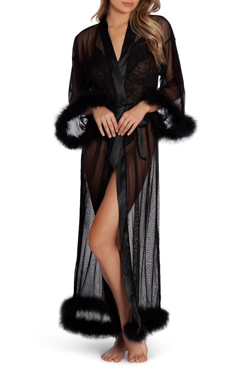 IN BLOOM BY JONQUIL Magic Feather Trim Robe, Main, color, 001