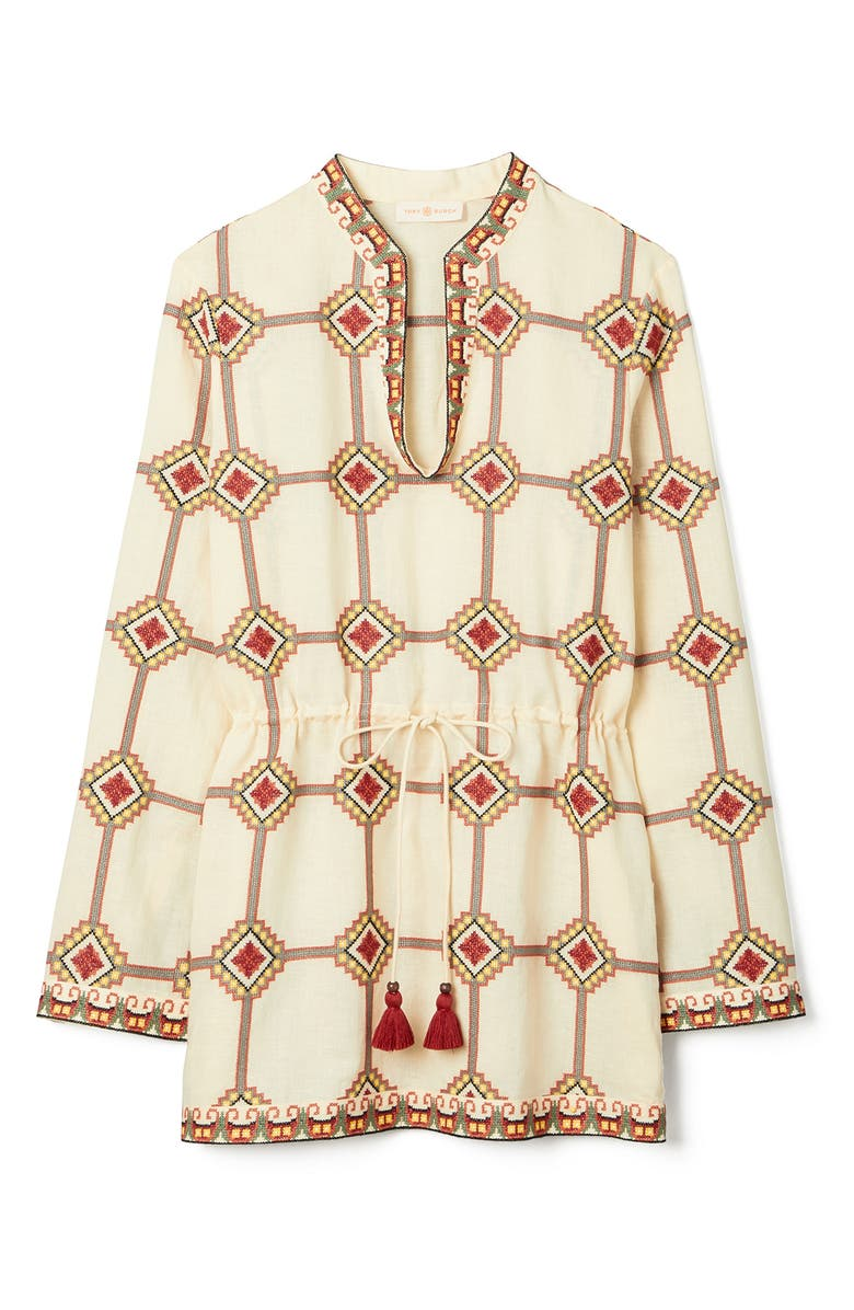 TORY BURCH Embroidered Tunic, Main, color, GEO PRINT