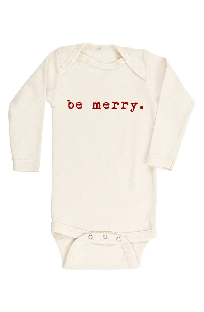 TENTH & PINE Be Merry Organic Cotton Bodysuit, Main, color, 250