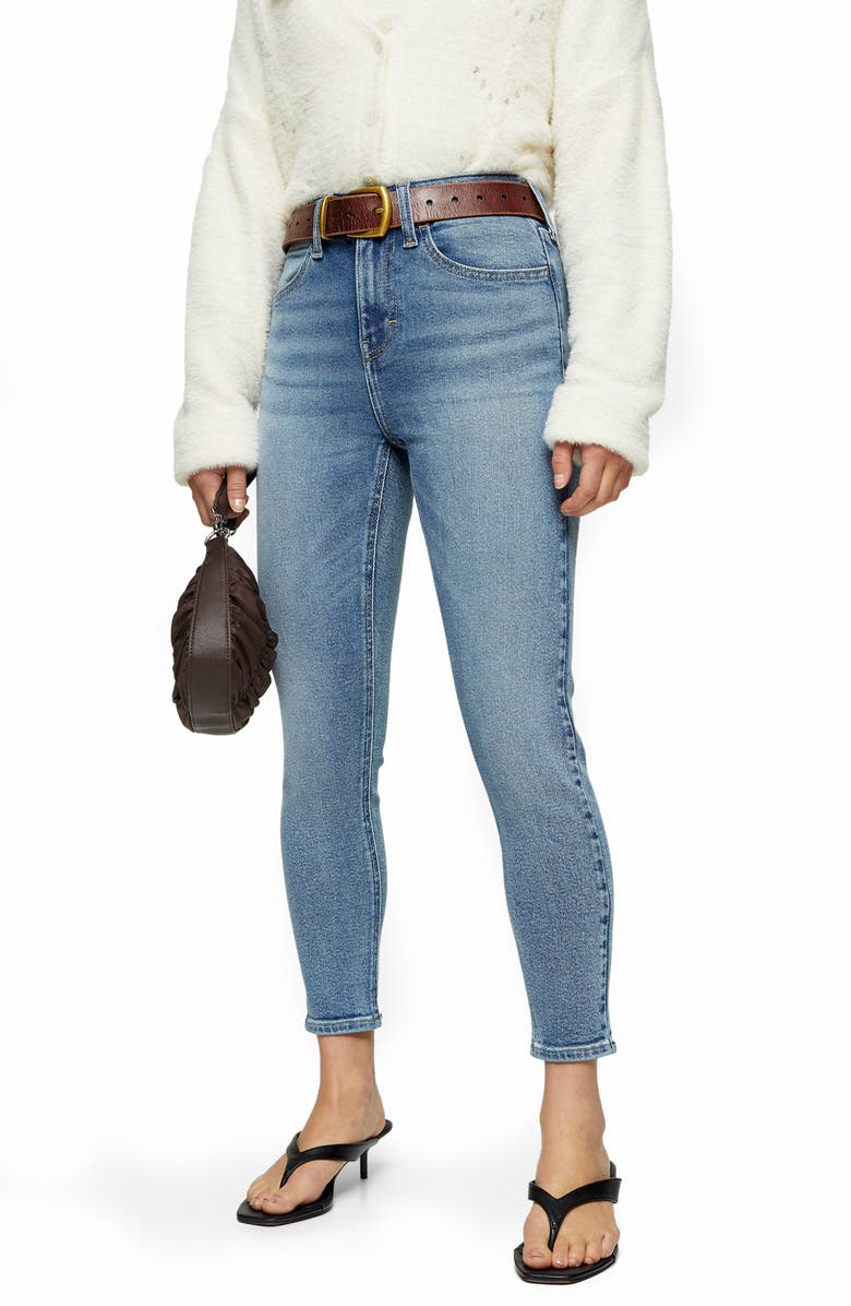 TOPSHOP Stone Ankle Skinny Jeans, Main, color, 420