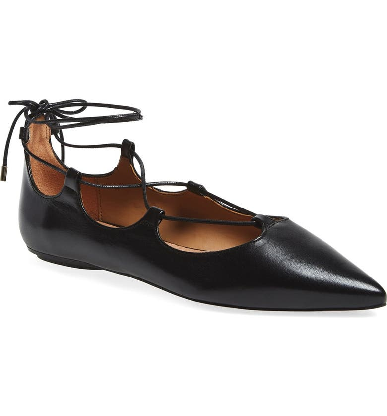 TOPSHOP 'Leather Kingdom' Pointy Toe Flat, Main, color, Black