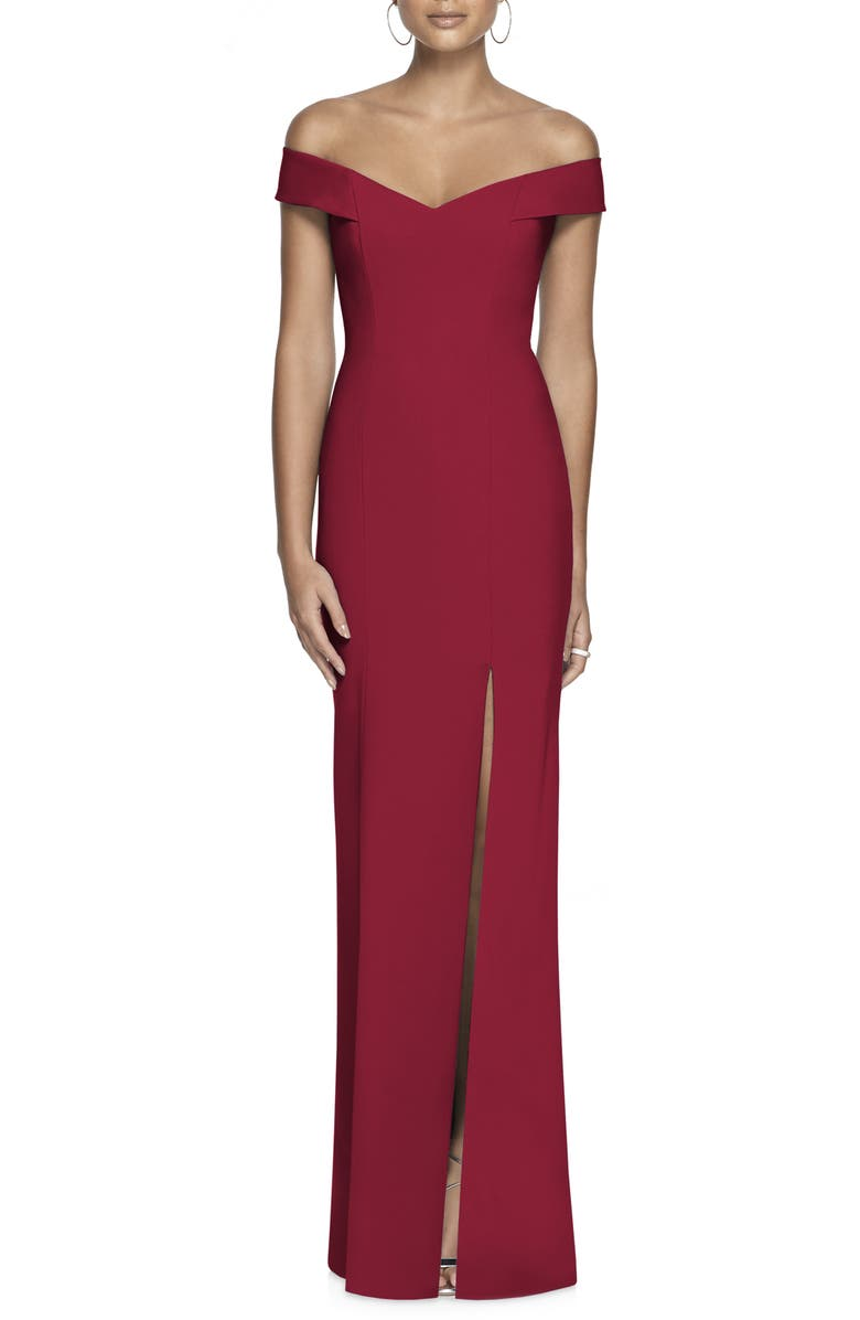 DESSY COLLECTION Off the Shoulder Crossback Gown, Main, color, BURGUNDY