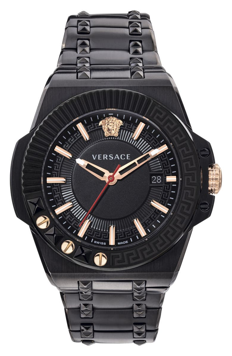 VERSACE Chain Reaction Bracelet Watch, 45mm, Main, color, 001