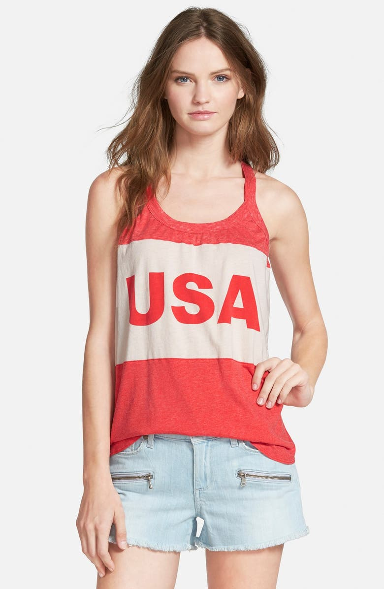 CHASER 'USA' Graphic Tank, Main, color, IVORY/ RED