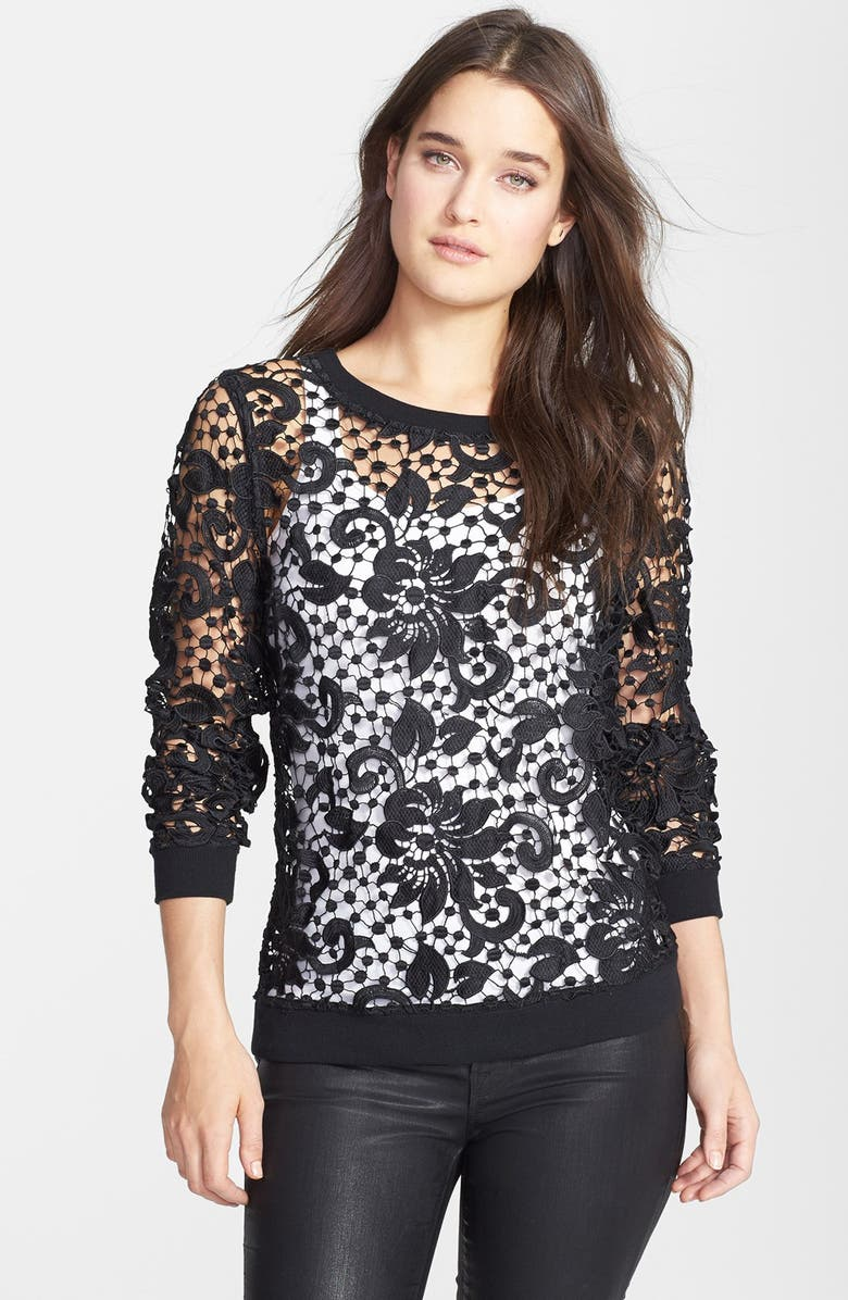 CHELSEA28 Embroidered Lace Pullover, Main, color, Black