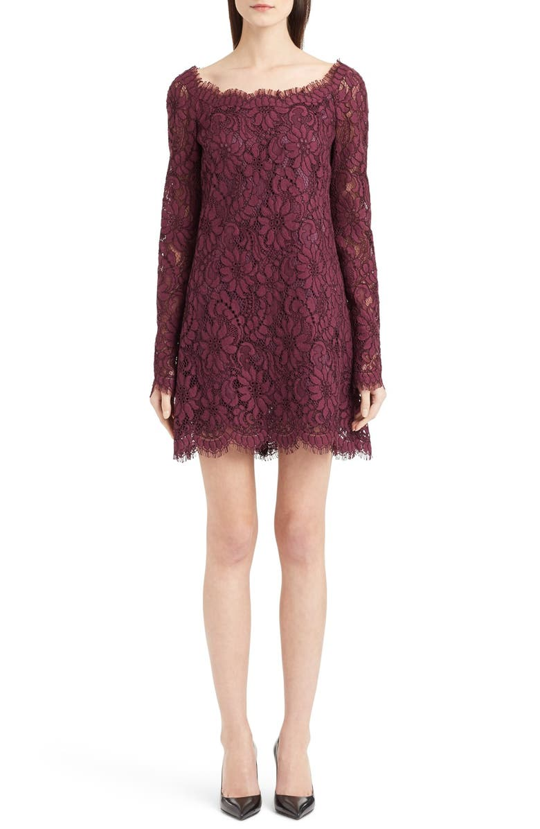 DOLCE&GABBANA Scoop Neck Lace Shift Dress, Main, color, 930