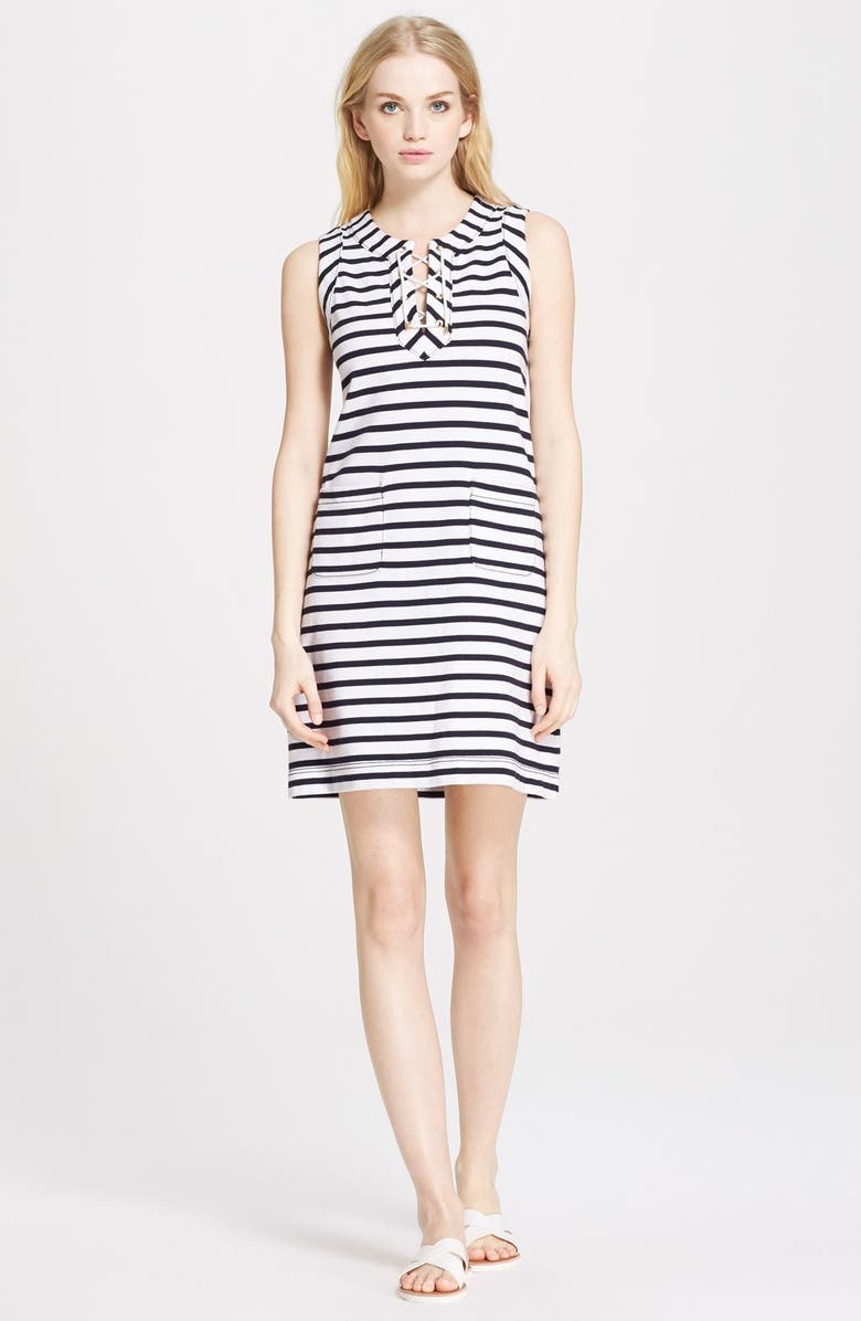 KATE SPADE NEW YORK lace up dress, Main, color, RICH NAVY/ FRESH WHITE