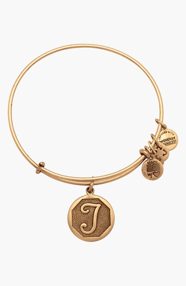 ALEX AND ANI 'Initial' Adjustable Wire Bangle, Main, color, T - RAFAELIAN GOLD