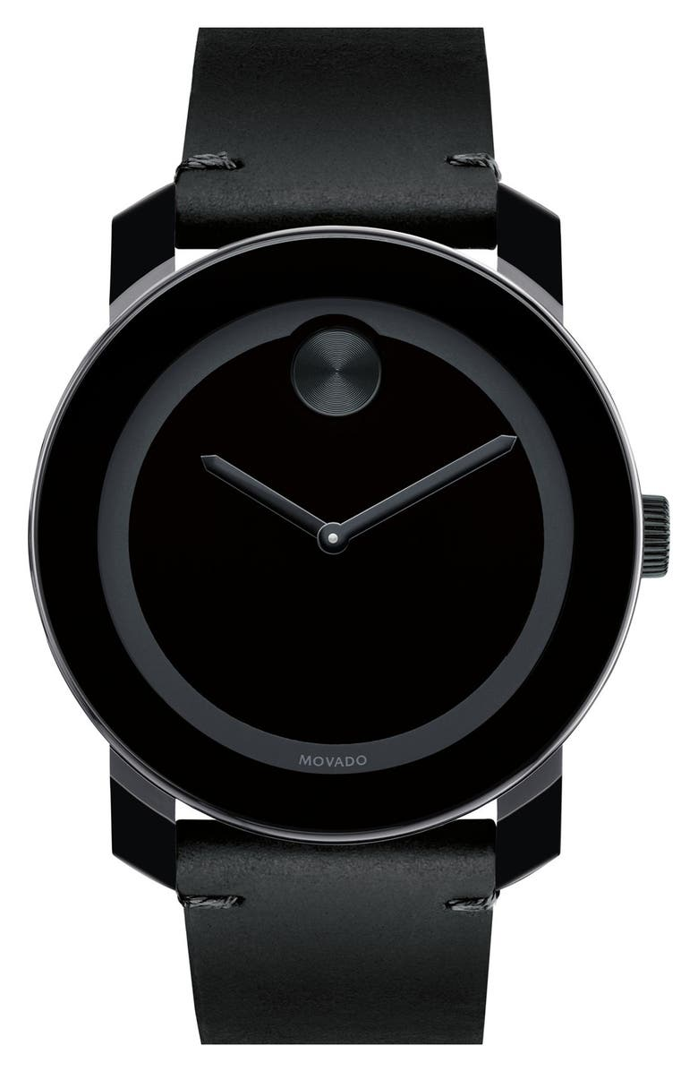 MOVADO 'Bold' Leather Strap Watch, 42mm, Main, color, 020