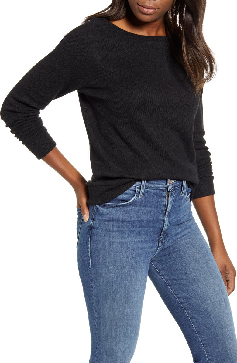 CASLON<SUP>®</SUP> Knit Pullover, Main, color, 001
