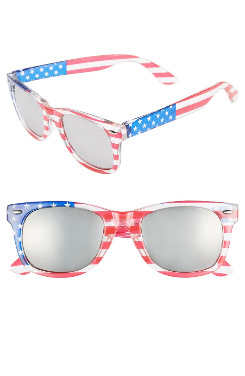 BP. Americana 63mm Stars & Stripes Sunglasses, Main, color, 400