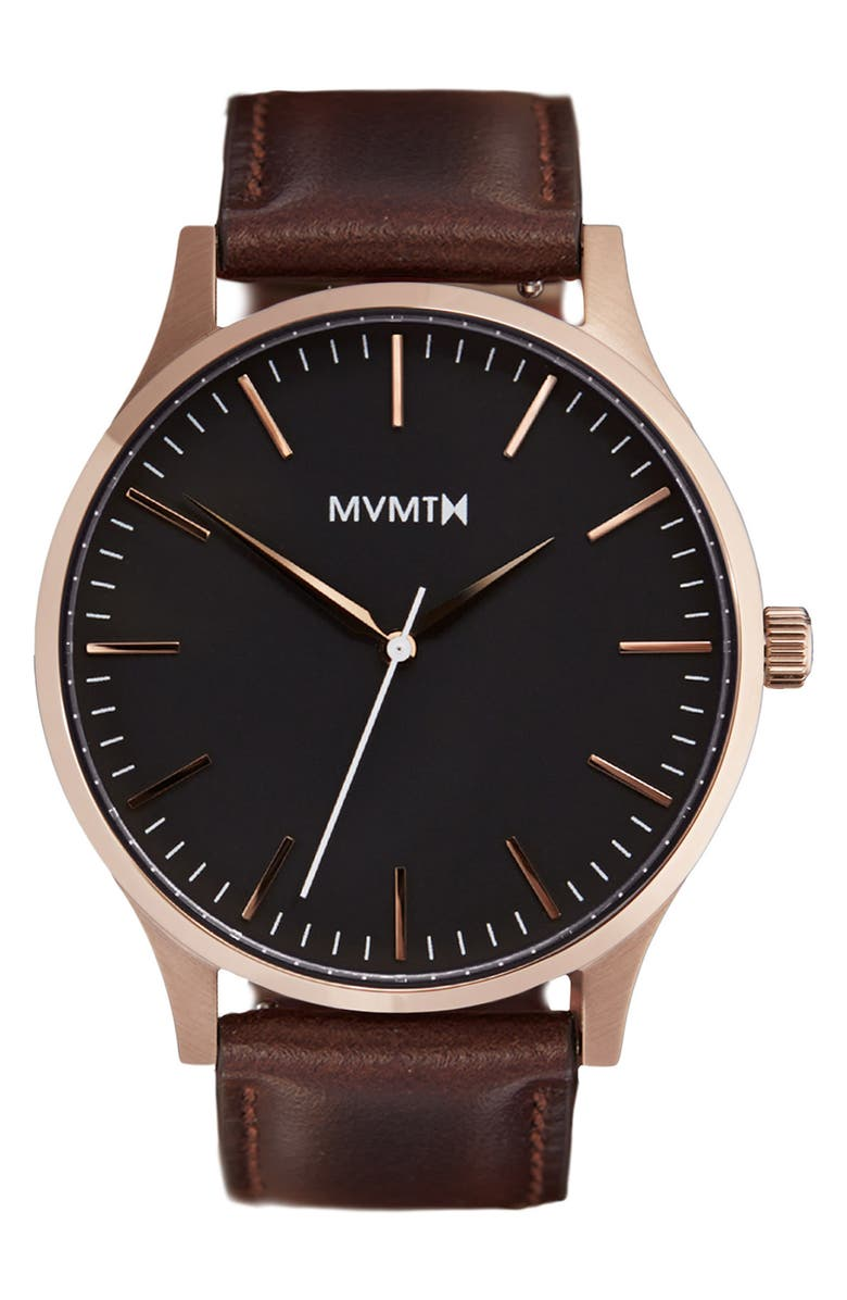 MVMT Leather Strap Watch, 40mm, Main, color, BROWN/ ROSE GOLD