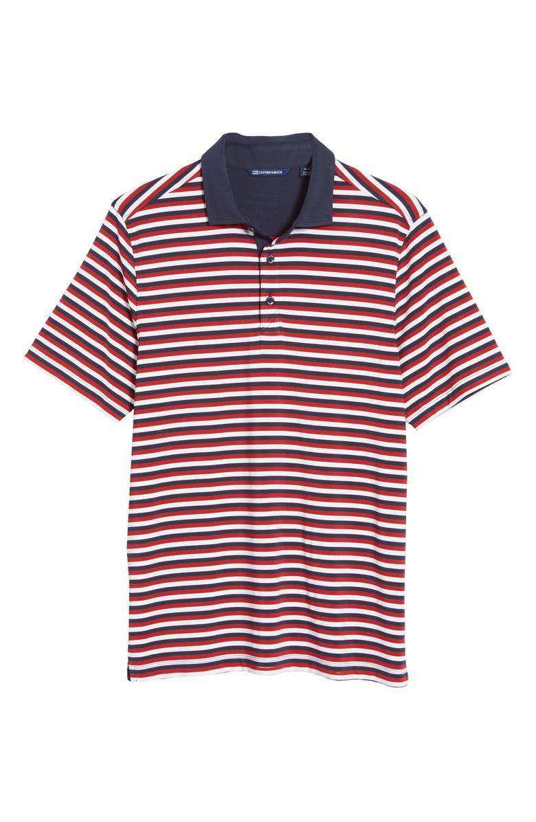 CUTTER & BUCK Forge DryTec Stripe Performance Polo, Main, color, CARDINAL RED