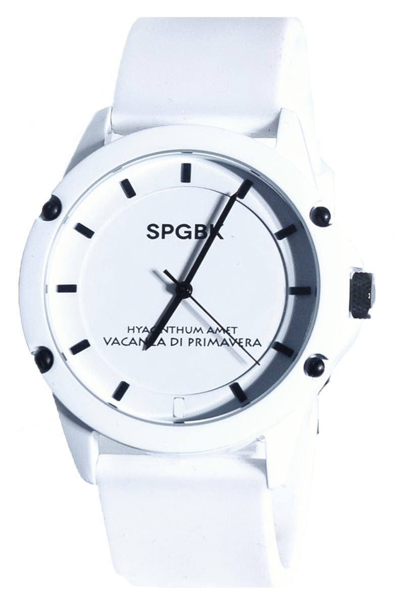 SPGBK WATCHES Country Club Silicone Band Watch, 44mm, Main, color, White