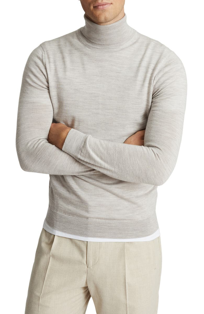 REISS Caine Turtleneck Wool Sweater, Main, color, PUTTY MOULINE