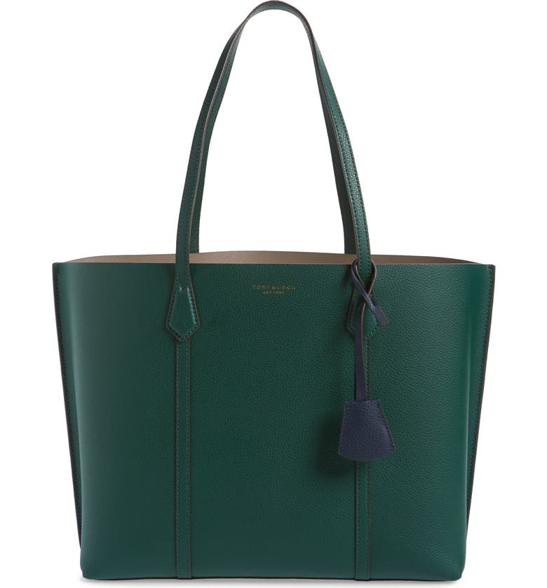 TORY BURCH Perry Leather Tote, Main, color, NORWOOD