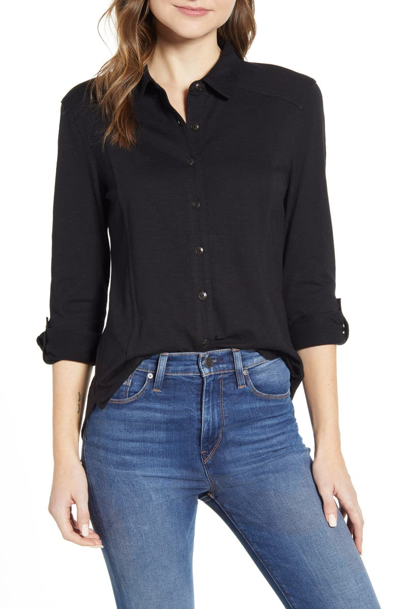 CASLON<SUP>®</SUP> Roll Sleeve Knit Shirt, Main, color, 001