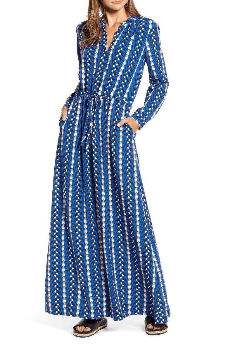THE ODELLS Long Sleeve Button Maxi Dress, Main, color, 400