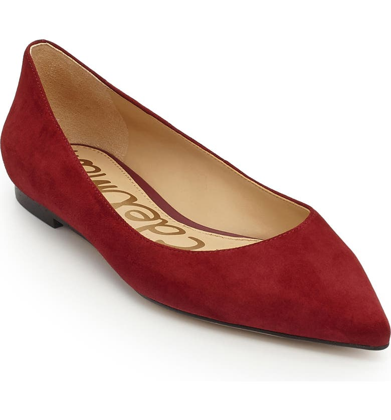 SAM EDELMAN Rae Pointy Toe Flat, Main, color, TANGO RED SUEDE