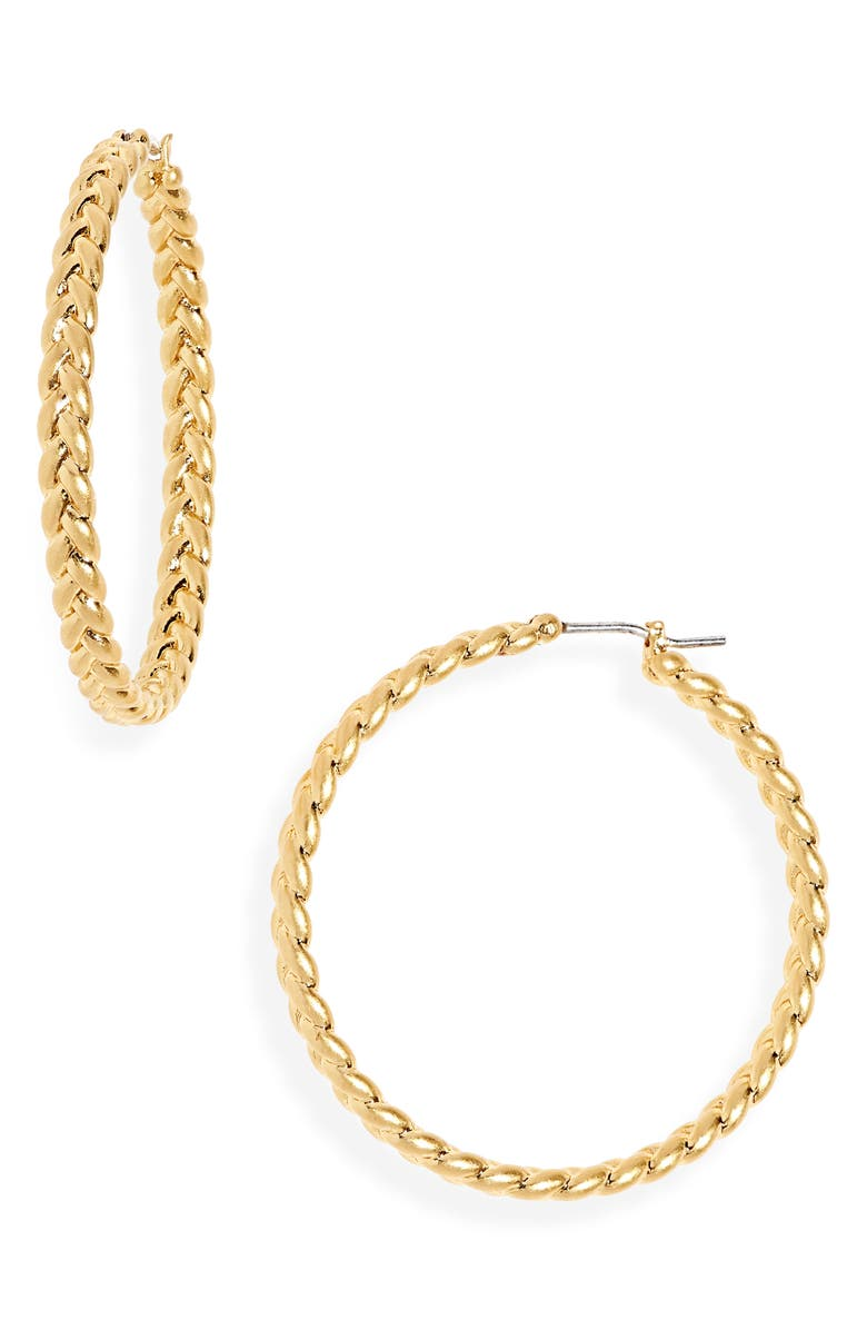 MADEWELL Braided Hoop Earrings, Main, color, 710