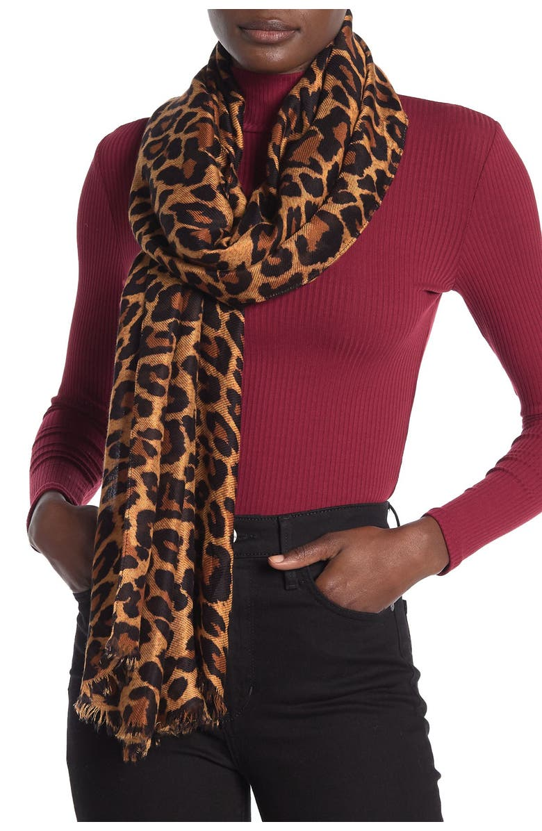 NORDSTROM RACK Printed Floral Wrap Scarf, Main, color, BROWN COMBO LEOPARD PRINT