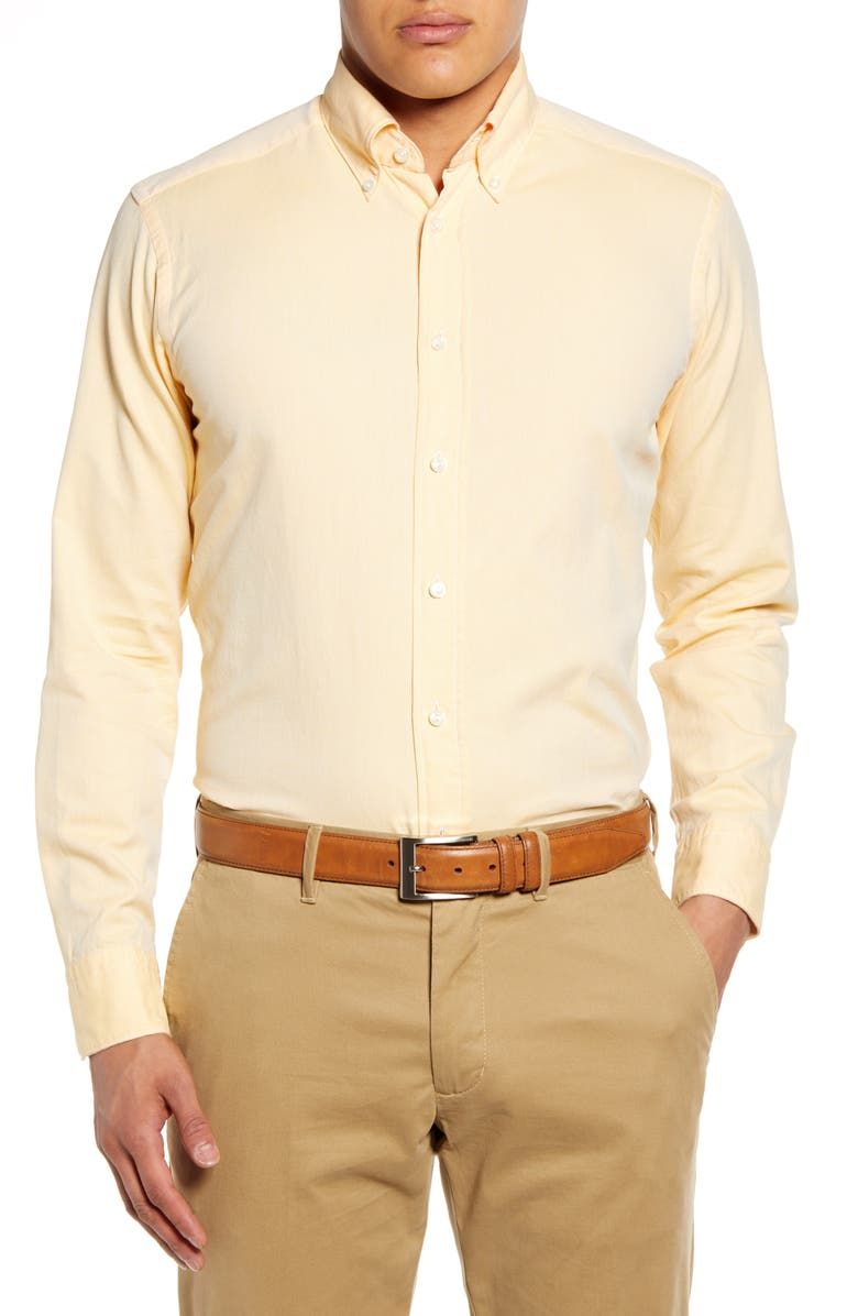 ETON Soft Casual Line Slim Fit Oxford Shirt, Main, color, Yellow