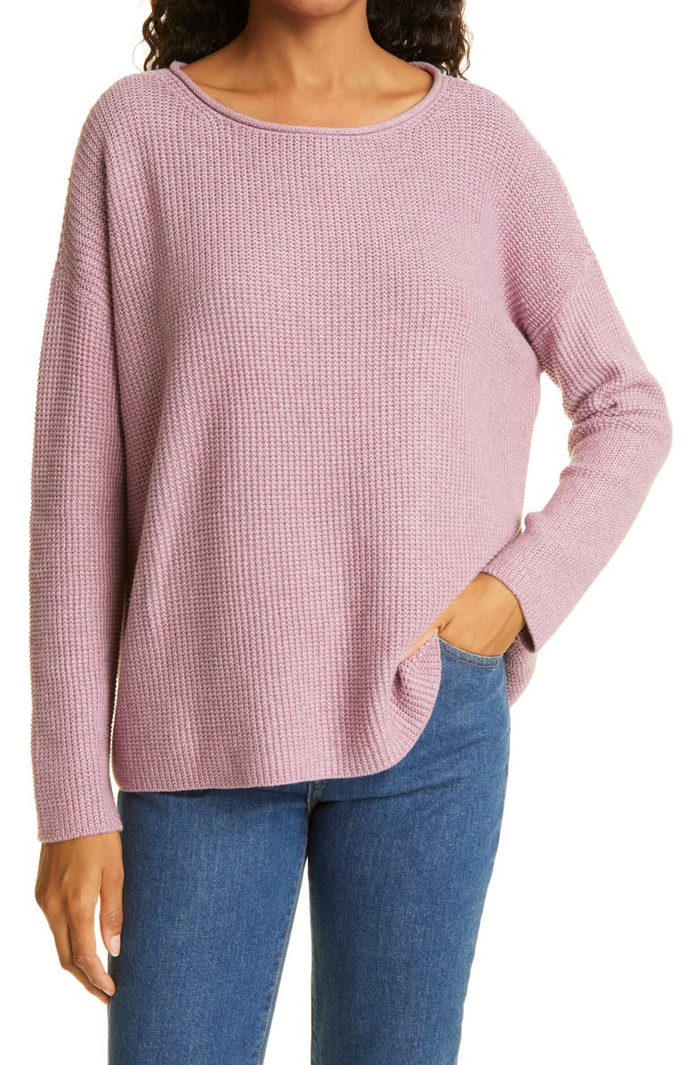 EILEEN FISHER Roll Neck Organic Cotton Sweater, Main, color, PLUM