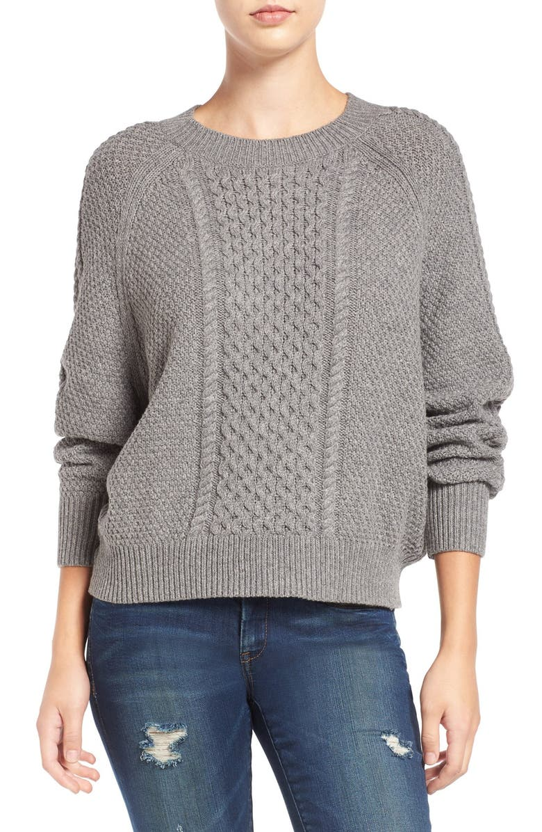 BP. Cable Knit Dolman Sweater, Main, color, GREY CLOUDY HEATHER