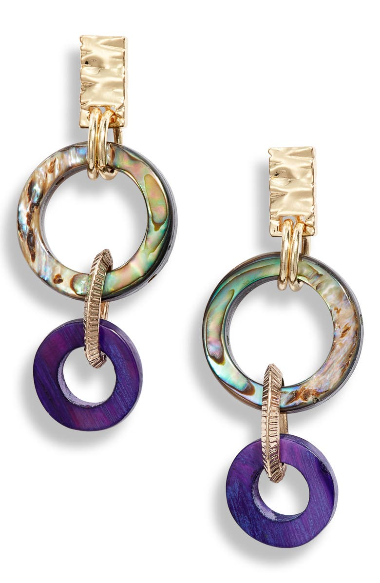 AKOLA Small Abalone Drop Earrings, Main, color, PURPLE