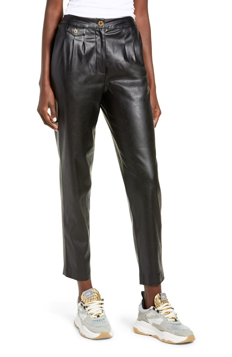 BLANKNYC Faux Leather Pleated Trousers, Main, color, FILM NOIR