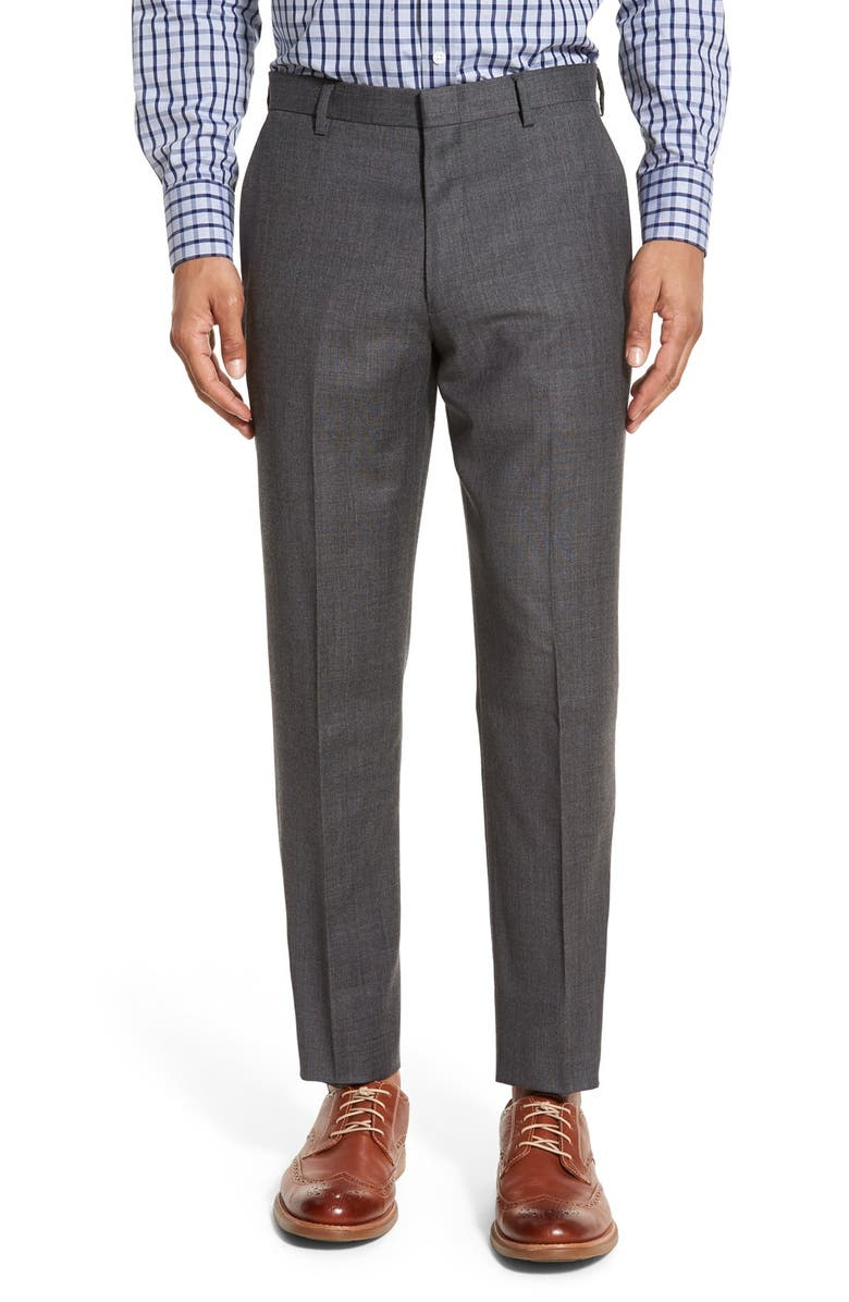 J.CREW Ludlow Flat Front Solid Wool Trousers, Main, color, CHARCOAL