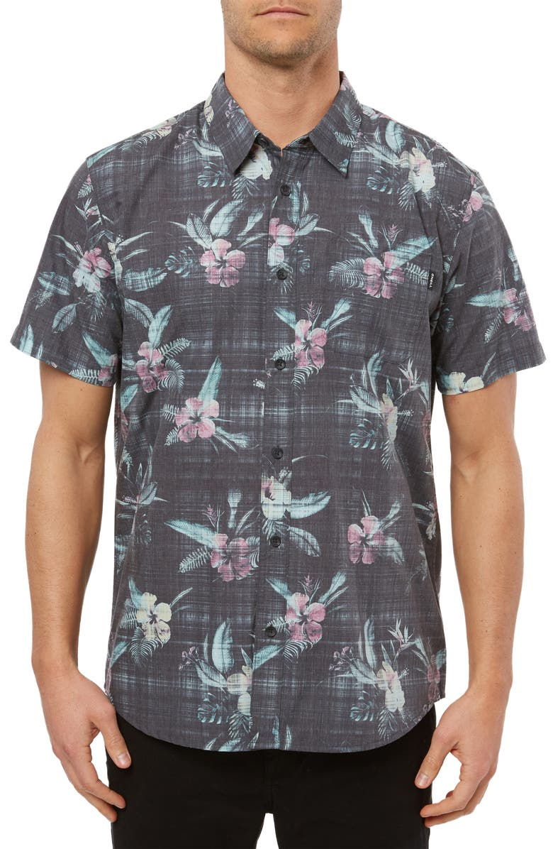 O'NEILL Fiiore Floral Print Short Sleeve Button-Up Shirt, Main, color, 001