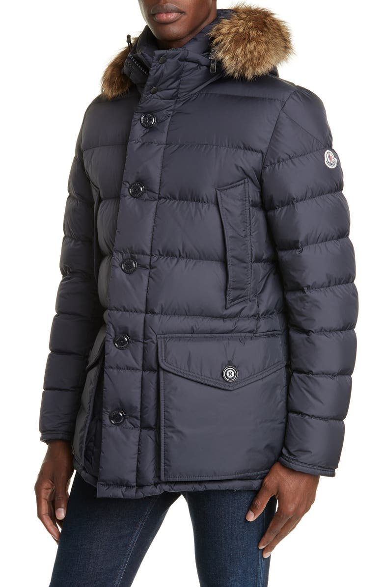 MONCLER Cluny Down Parka with Genuine Fur Trim Hood, Main, color, 419