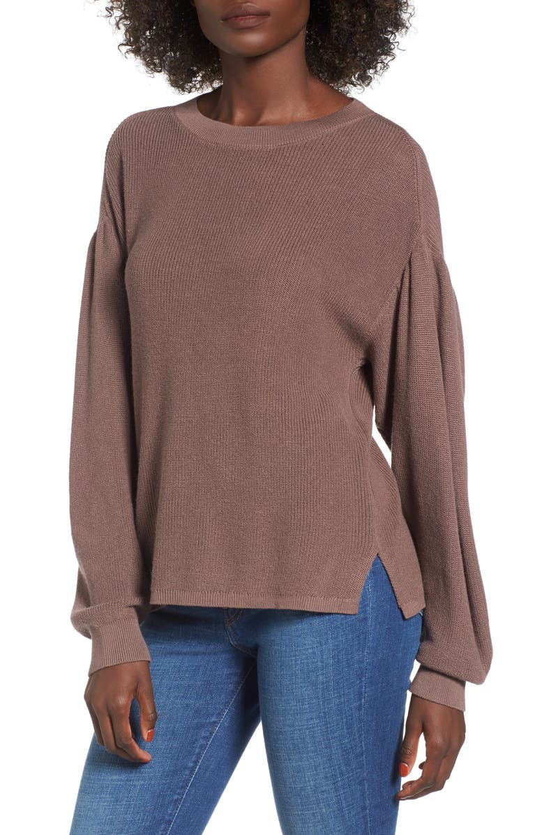 BP. Drape Sleeve Sweater, Main, color, BROWN TAUPE