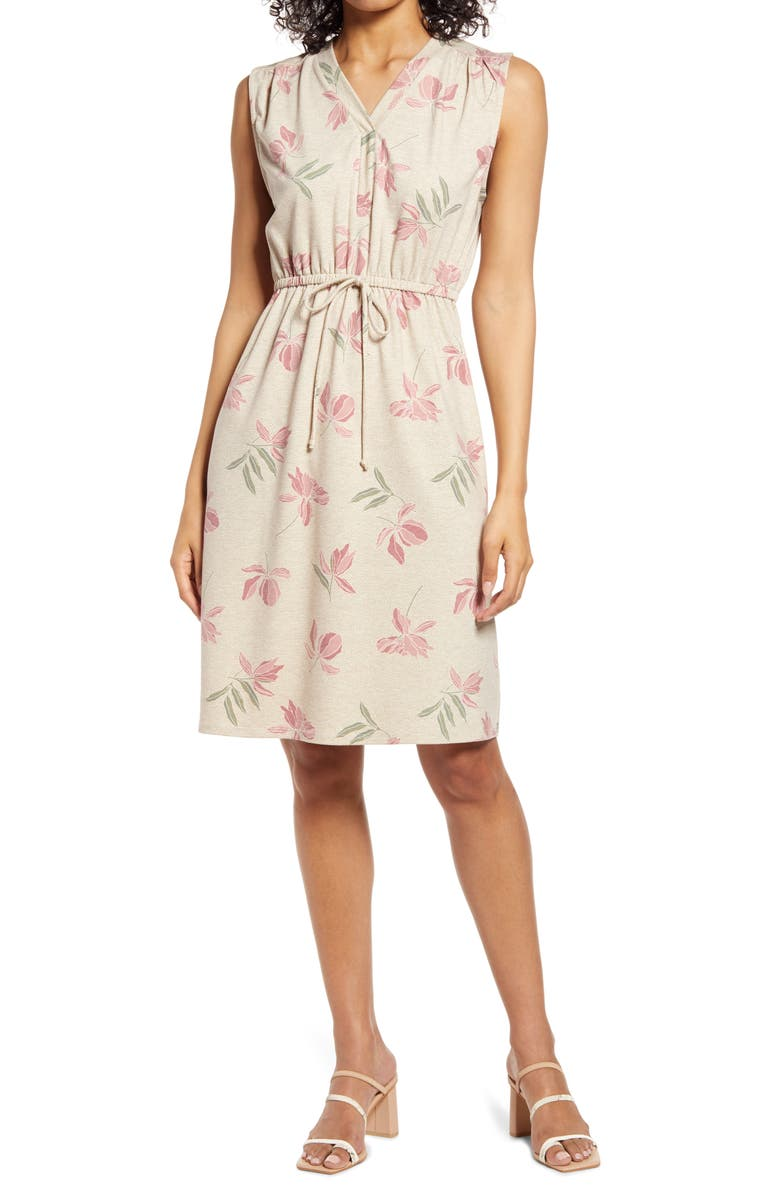 BOBEAU Drawstring Jersey Dress, Main, color, CLAY FLORAL